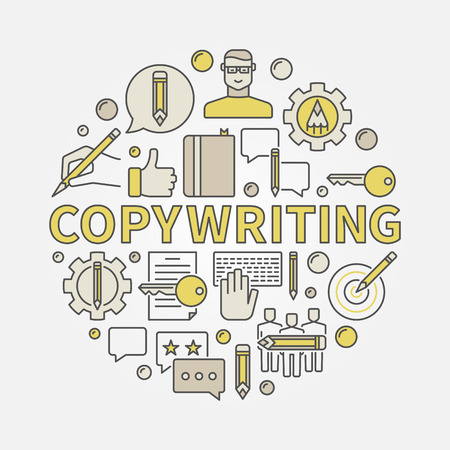 76232355 - copywriting round colorful illustration